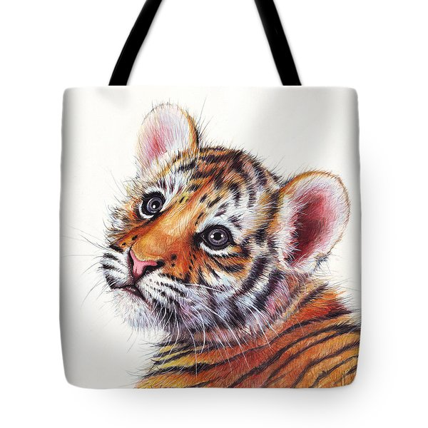 Tiger Cub Watercolor Painting Tote Bag by Olga Shvartsur
