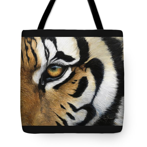 Tiger Eye Tote Bag by Lucie Bilodeau