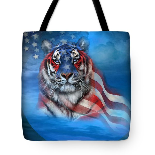 Tiger Flag Tote Bag by Carol Cavalaris