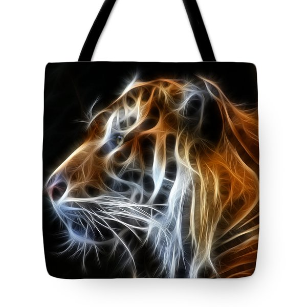 Tiger Fractal Tote Bag by Shane Bechler