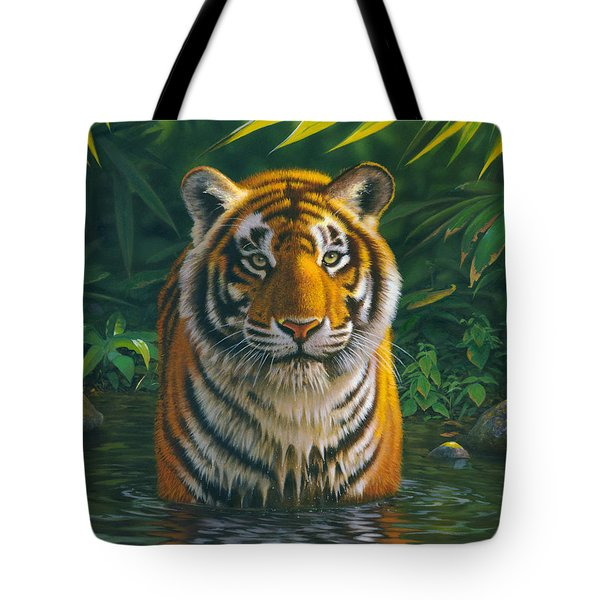 Tiger Pool Tote Bag by MGL Studio - Chris Hiett