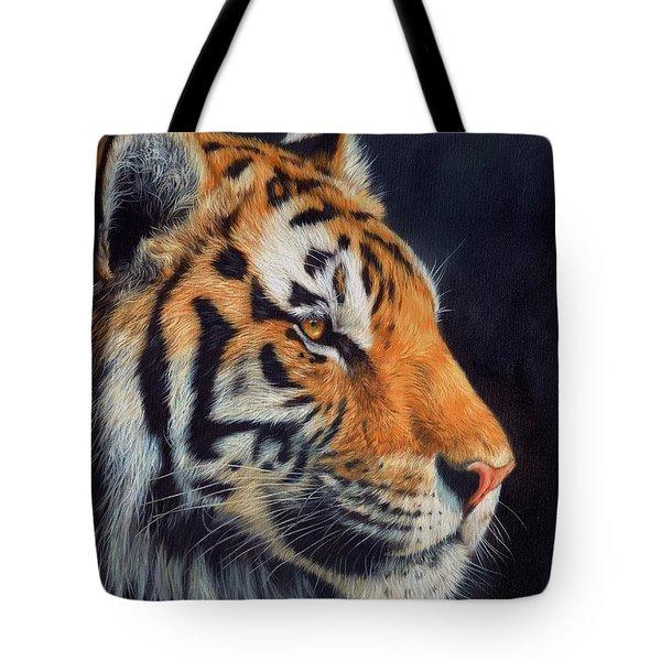Tiger Profile Tote Bag by David Stribbling