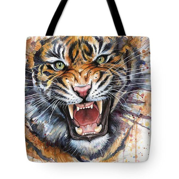 Tiger Watercolor Portrait Tote Bag by Olga Shvartsur