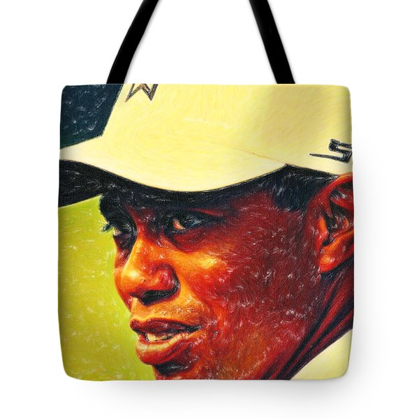 Tiger Woods 2 Crayons Tote Bag by MotionAge Designs