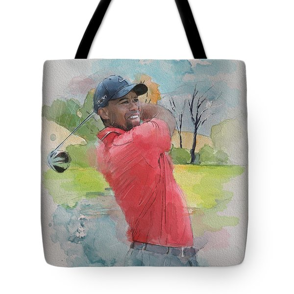 Tiger Woods Tote Bag by Catf