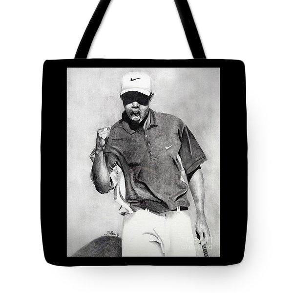 Tiger Woods Pumped Tote Bag by Devin Millington