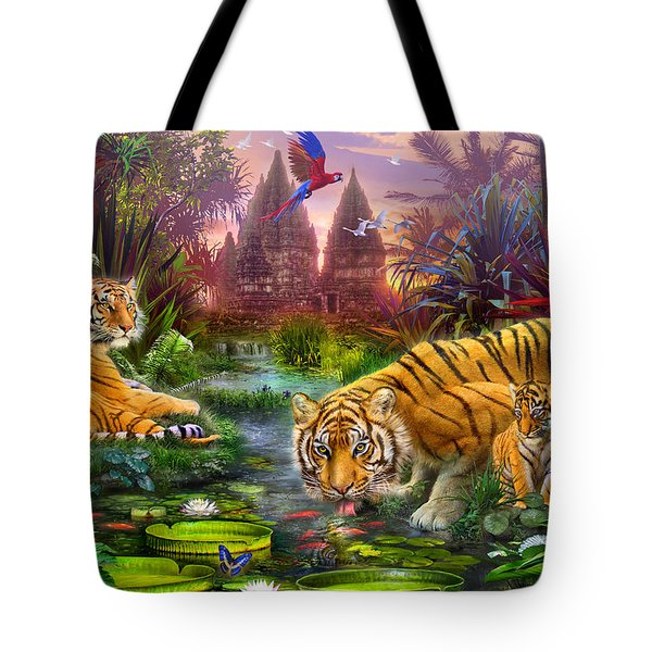 Tigers at the Ancient Stream Tote Bag by Jan Patrik Krasny