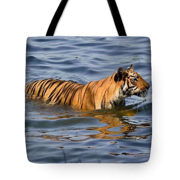 Tigress Of The Lake Tote Bag by Fotosas Photography