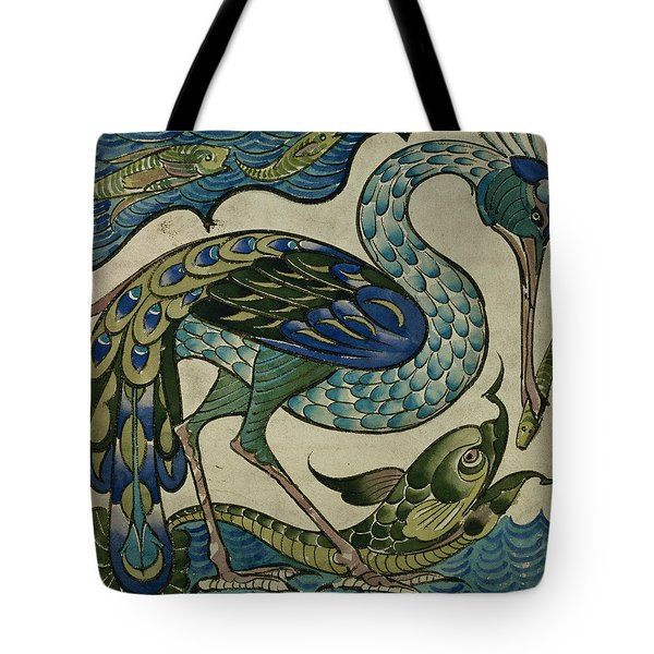 Tile Design Of Heron And Fish Tote Bag by Walter Crane