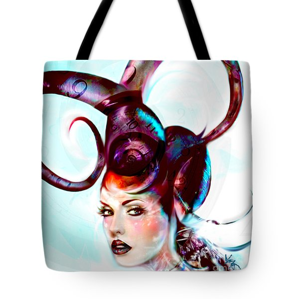 Sci Fi Fantasy Spirals In Time Tote Bag by Jaimy Mokos