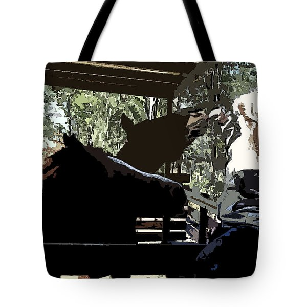 Time For Treats At The Run In Shed Tote Bag by George Pedro