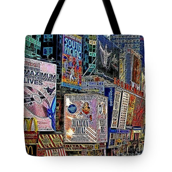 Time Square New York 20130503v9 Square Tote Bag by Wingsdomain Art and Photography