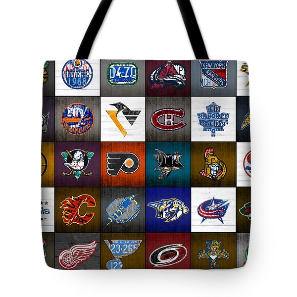 Time To Lace Up The Skates Recycled Vintage Hockey League Team Logos License Plate Art Tote Bag by Design Turnpike