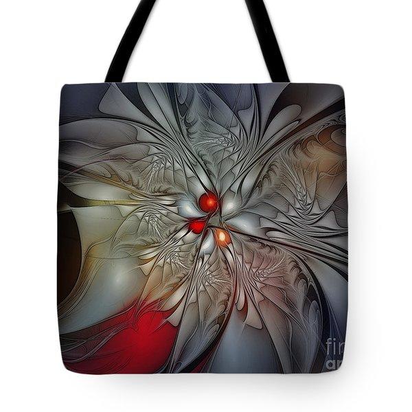 Timeless Elegance-floral Fractal Design Tote Bag by Karin Kuhlmann