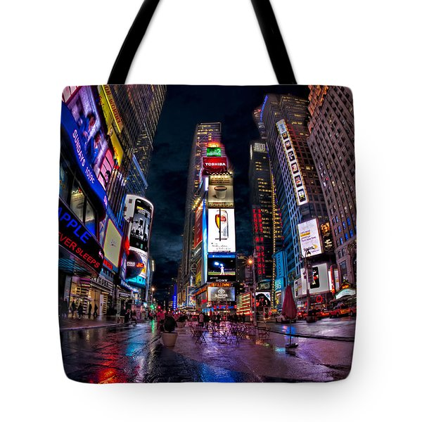 Times Square New York City The City That Never Sleeps Tote Bag by Susan Candelario