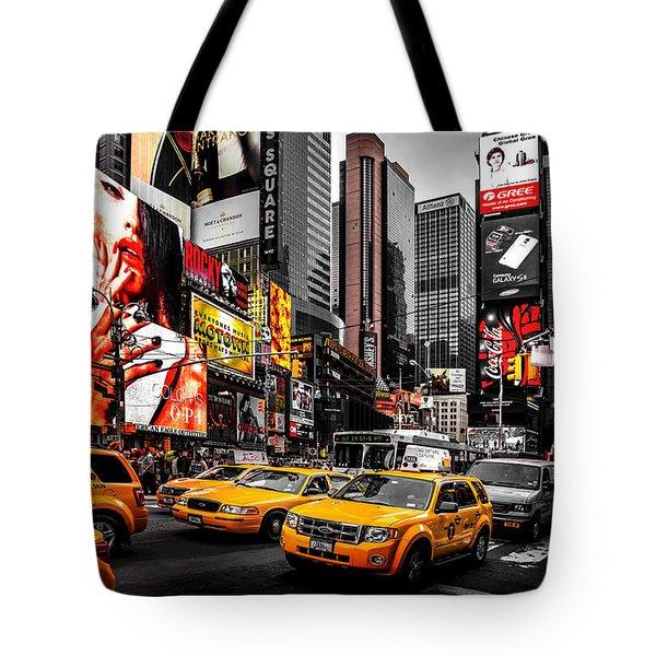 Times Square Taxis Tote Bag by Az Jackson