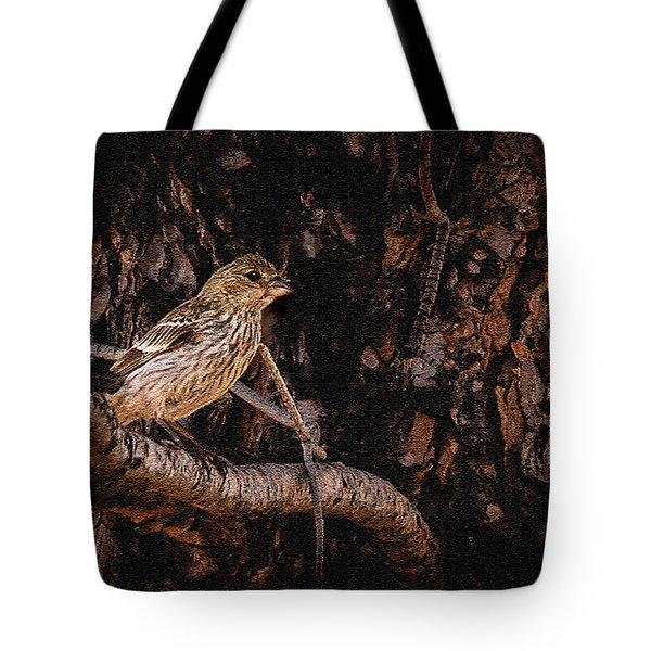 Tiny Sparrow Huge Tree Tote Bag by Bob and Nadine Johnston