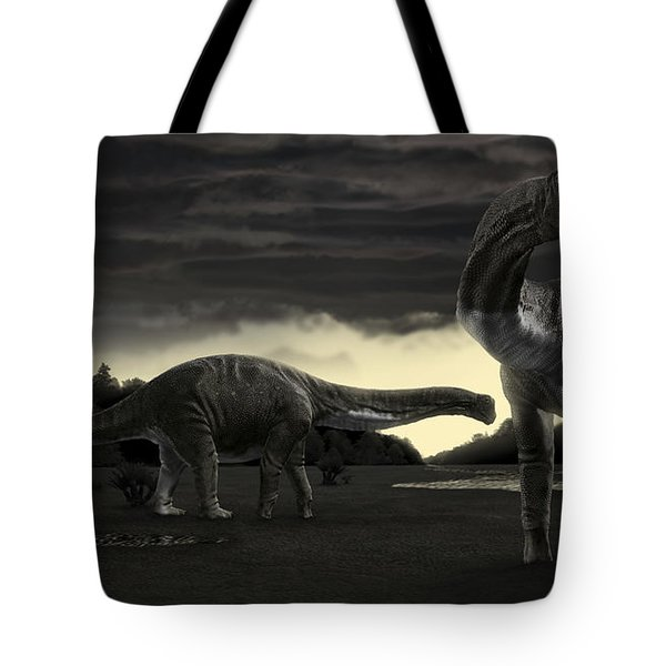 Titanosaurs In The First Storm Tote Bag by Rodolfo Nogueira