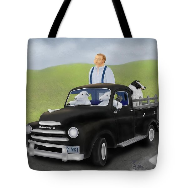 To Market With The Sheep Tote Bag by Marlene Watson