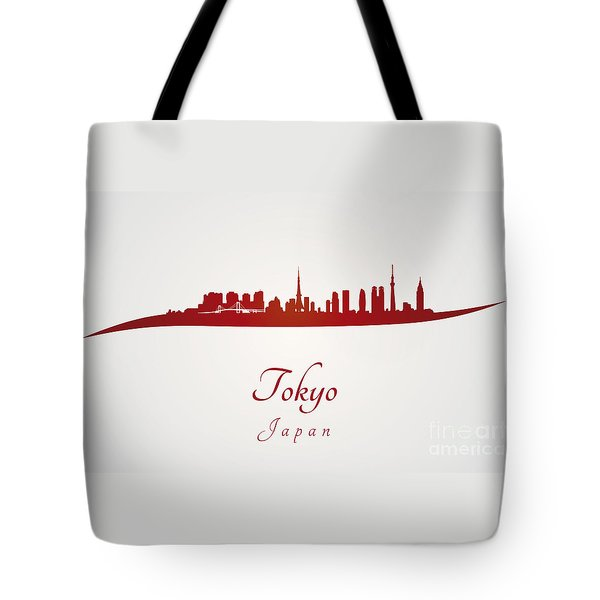 Tokyo Skyline In Red Tote Bag by Pablo Romero