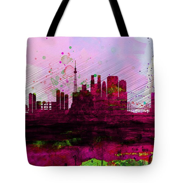 Tokyo Watercolor Skyline Tote Bag by Naxart Studio