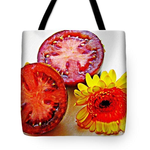 Tomato And Daisy 2 Tote Bag by Sarah Loft