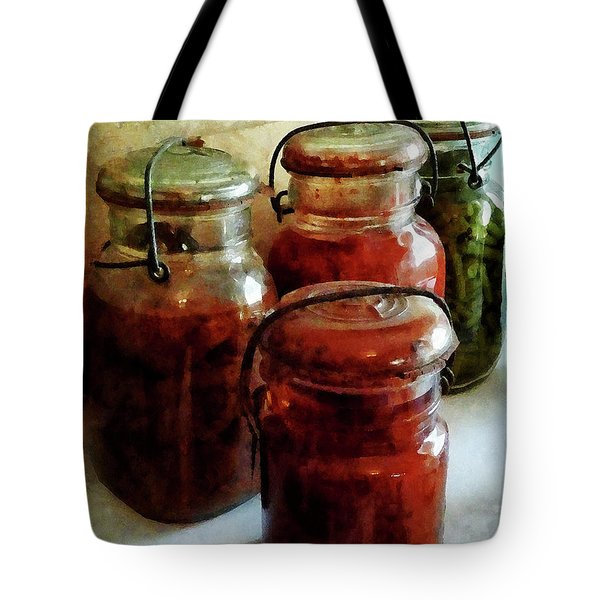 Tomatoes and String Beans in Canning Jars Tote Bag by Susan Savad