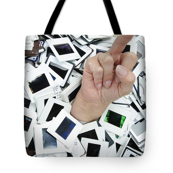 Too Many Slides - Hand Giving The Middle Finger Tote Bag by Matthias Hauser