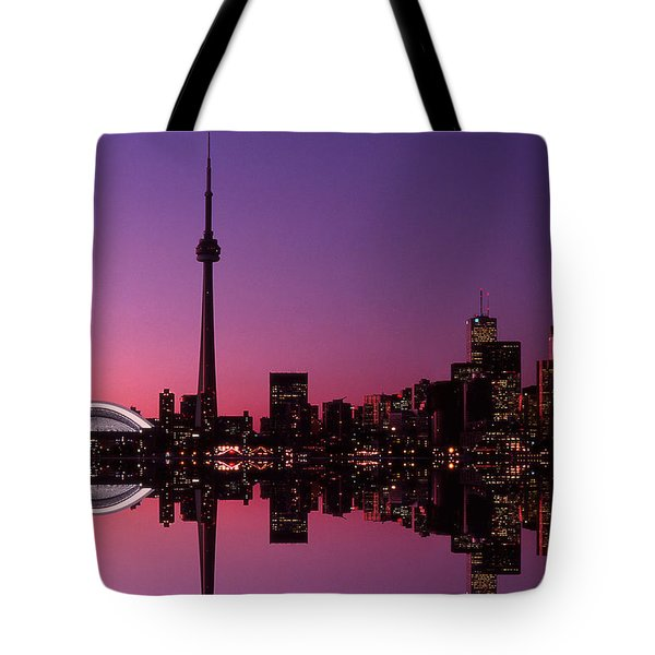 Toronto Skyline At Sunset, Toronto Tote Bag by Alan Marsh