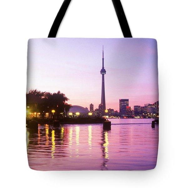 Toronto Skyline At Sunset, Toronto Tote Bag by Peter Mintz