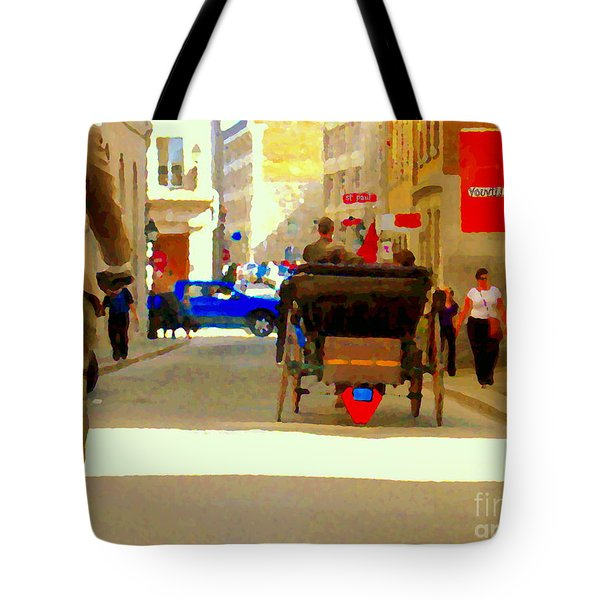 Touring Old Montreal Cyclist Caleche Cars Share Narrow Historic Youville Square City Scenes Cspandau Tote Bag by Carole Spandau