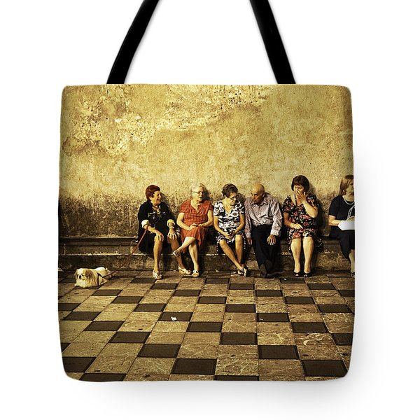 Tourists On Bench - Taormina - Sicily Tote Bag by Madeline Ellis