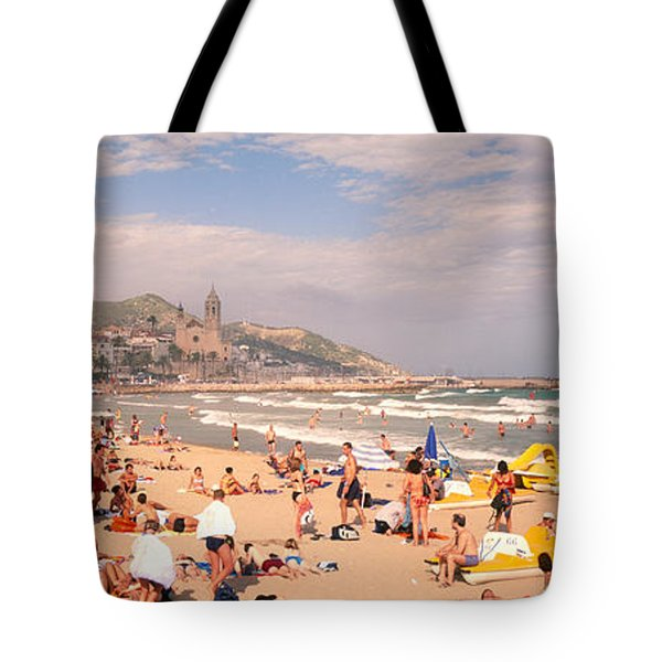 Tourists On The Beach, Sitges, Spain Tote Bag by Panoramic Images
