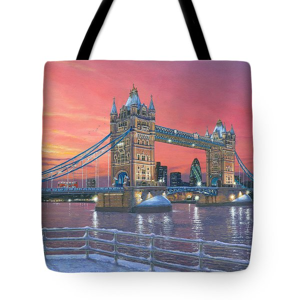 Tower Bridge After The Snow Tote Bag by Richard Harpum