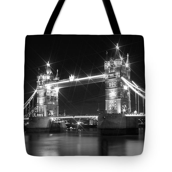 Tower Bridge by Night - black and white Tote Bag by Melanie Viola