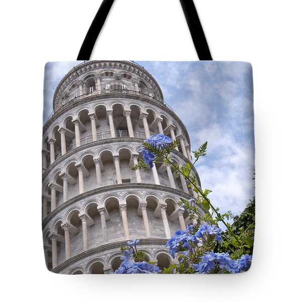 Tower Of Pisa With Blue Flowers Tote Bag by Melany Sarafis