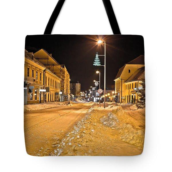 Town In Deep Snow On Christmas Tote Bag by Dalibor Brlek