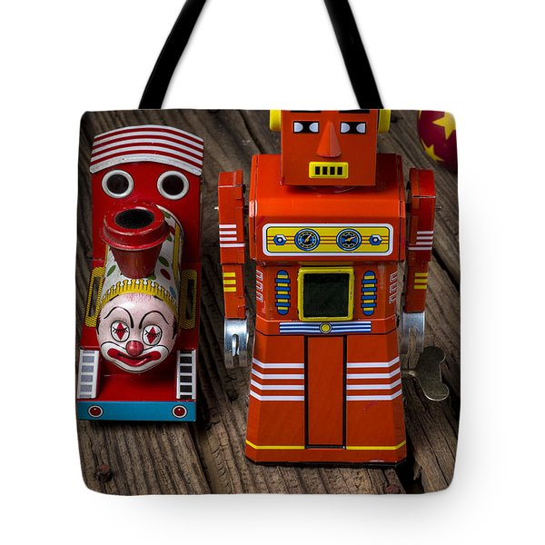 Toy Robot And Train Tote Bag by Garry Gay