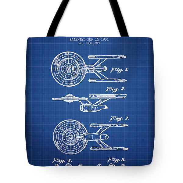 Toy Spaceship Patent From 1981 - Blueprint Tote Bag by Aged Pixel
