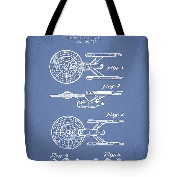 Toy Spaceship Patent From 1981 - Light Blue Tote Bag by Aged Pixel