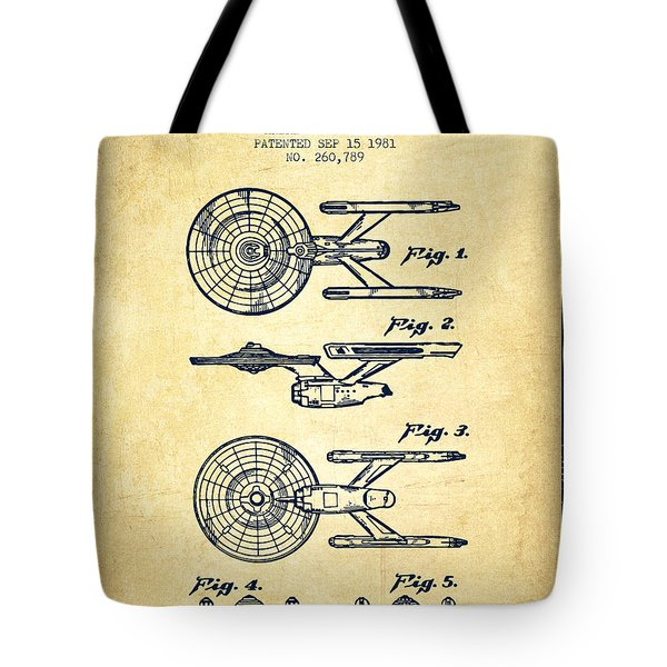 Toy Spaceship Patent From 1981 - Vintage Tote Bag by Aged Pixel
