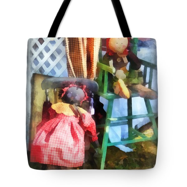 Toys - Two Rag Dolls At Flea Market Tote Bag by Susan Savad