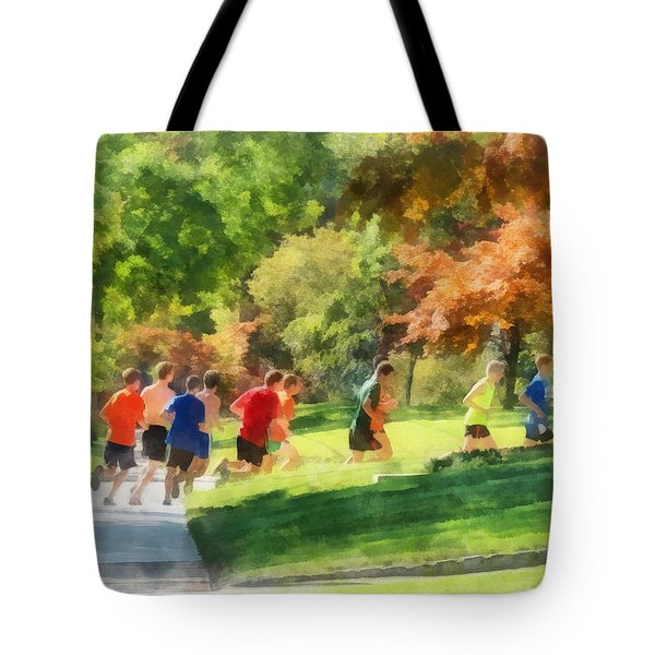 Track Team Tote Bag by Susan Savad