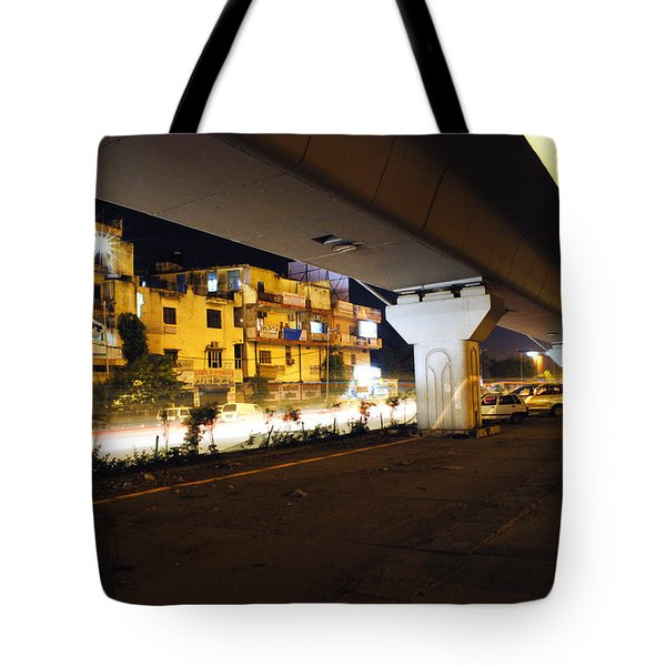 Traffic Running Beneath Flyover Tote Bag by Sumit Mehndiratta
