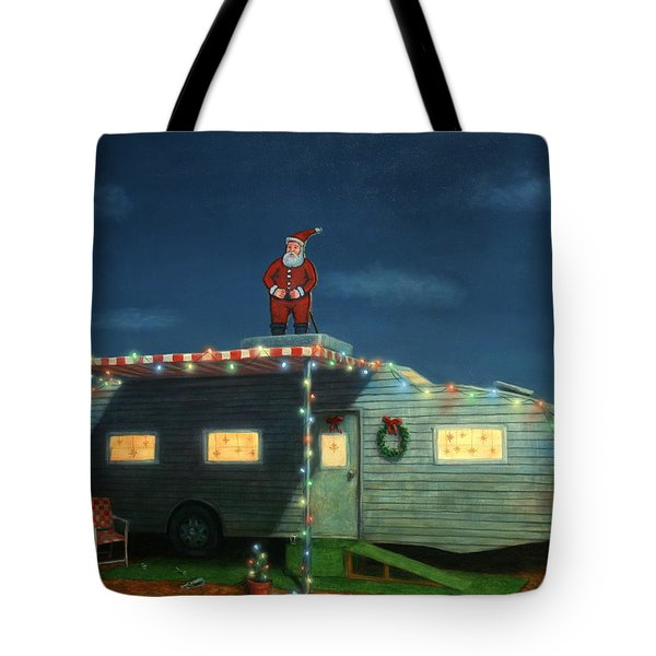 Trailer House Christmas Tote Bag by James W Johnson
