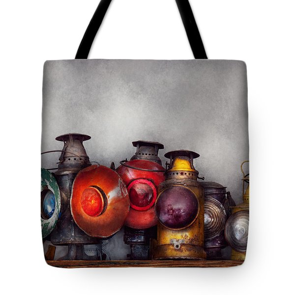 Train - A Collection Of Rail Road Lanterns  Tote Bag by Mike Savad