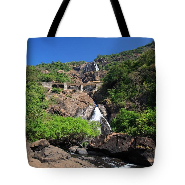 Train Crossing Dudhsagar Falls Tote Bag by Deborah Benbrook