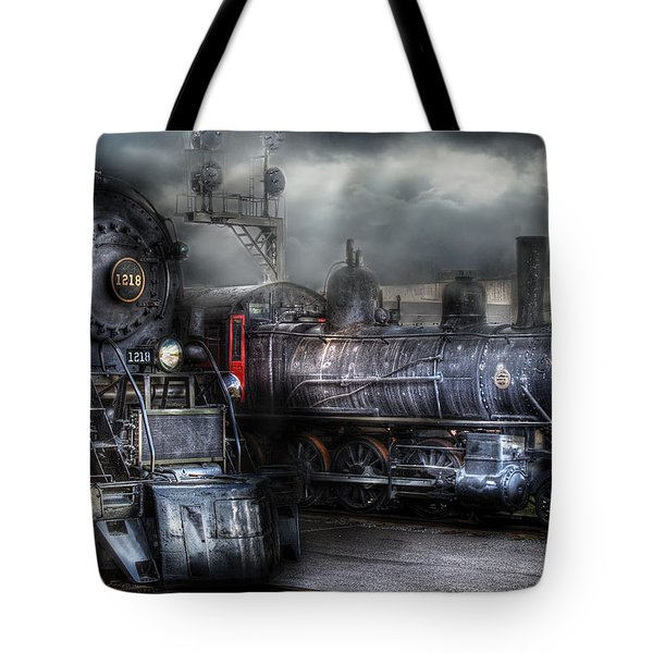 Train - Engine - 1218 - Waiting for Departure Tote Bag by Mike Savad
