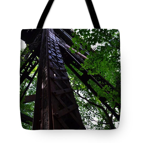 Train Trestle In The Woods Tote Bag by Michelle Calkins