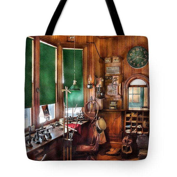 Train - Yard - The stationmasters office  Tote Bag by Mike Savad
